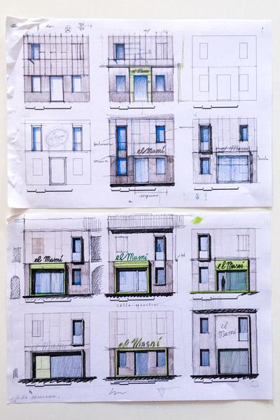 progettazione architettonica ristruttura disegni a mano libera