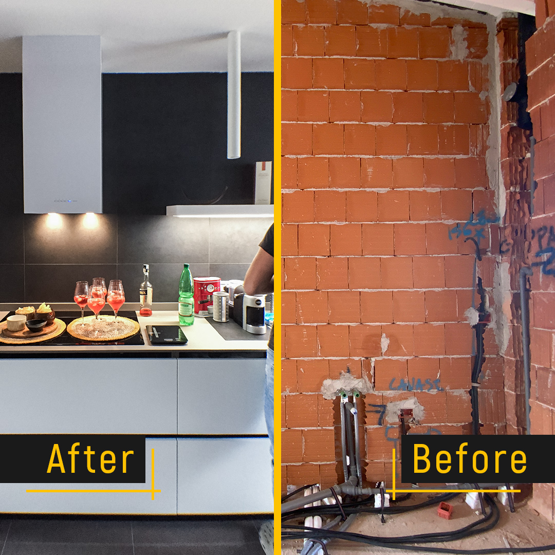Before and After cucina progettata su misura